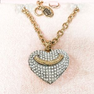 Juicy Couture Gold Pave Puffed Heart Long Necklace
